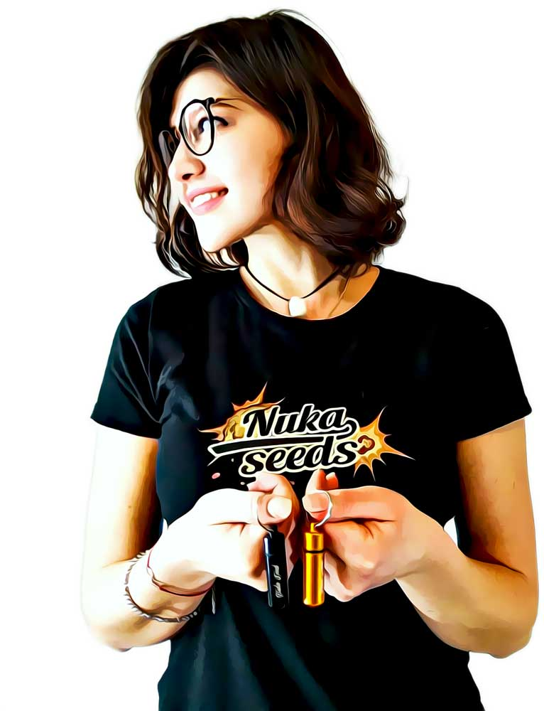 Nuka seeds bomb shaped seed case girl